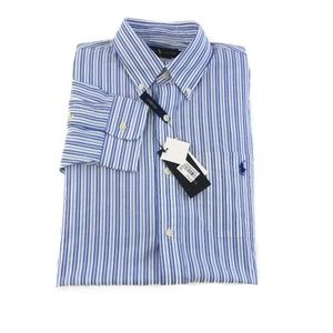 Ralph Lauren Mens Large Blue Stripe Stretch Button